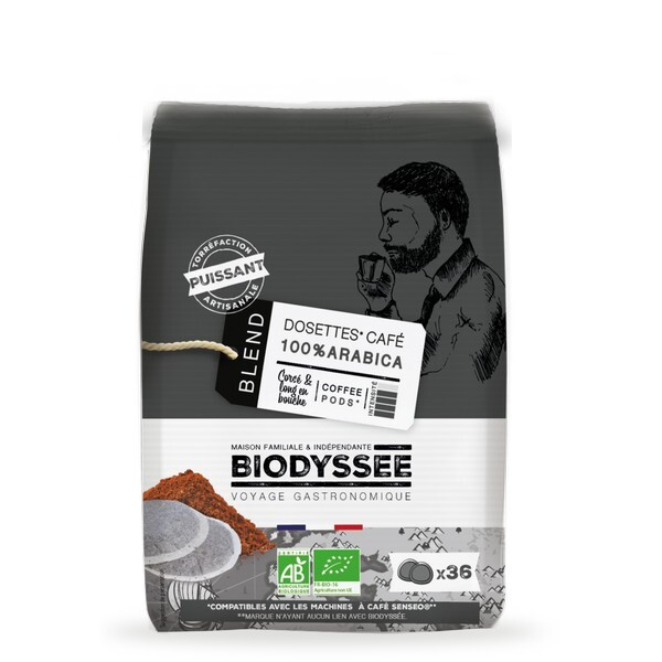 Biodyssée - Dosettes 100% arabica Puissant compatibles Senseo x36