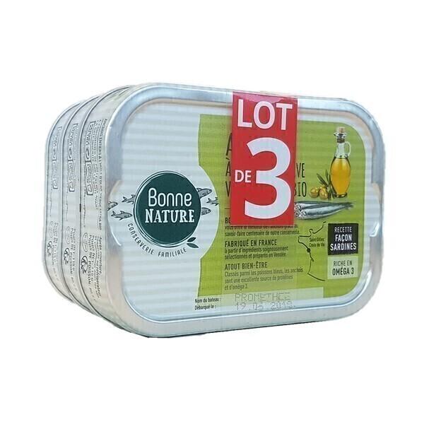 Bonne Nature - Anchois à l'huile d'olive vierge extra bio - Lot 3x115g