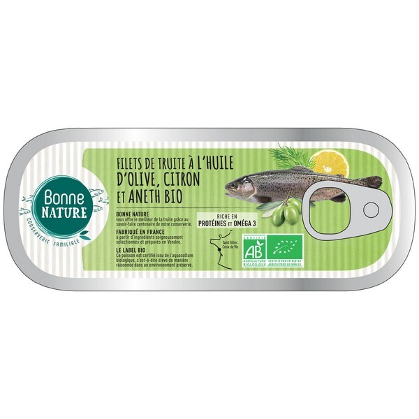Bonne Nature - Filets de truite à l'huile d'olive citron et aneth bio 115g