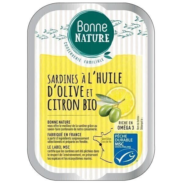 Bonne Nature - Sardines à l'huile d'olive & citron bio 115g