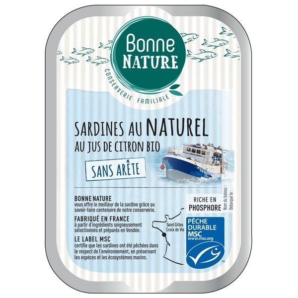 Bonne Nature - Sardines au naturel au jus de citron bio (sans arêtes) 115g