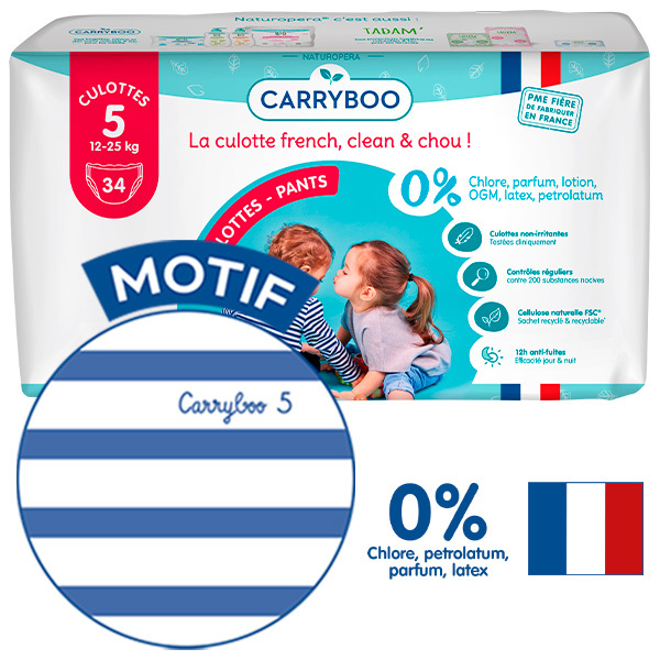 Carryboo - Pack 8x Jumbo 34 Culottes T5 Ecologiques Dermo-sensitives
