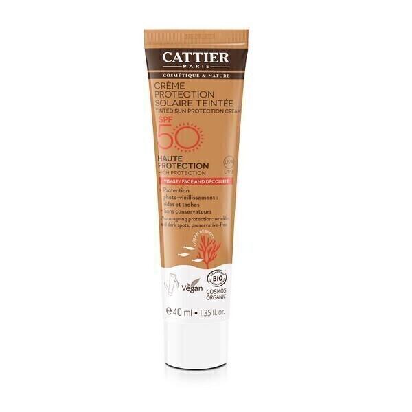 Cattier - Crème protection solaire teintée SPF 50 Visage 40ml