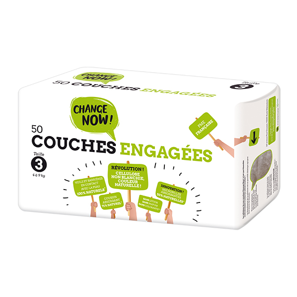 Change Now - Pack 8 x 50 Couches engagées T3, 4-9 kg