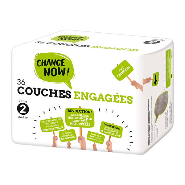 Change Now - Pack 4 x 36 Couches engagées T2, 3-6 kg