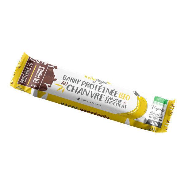 Hello Joya - Barre bio protéinée chanvre, banane, chocolat 40g