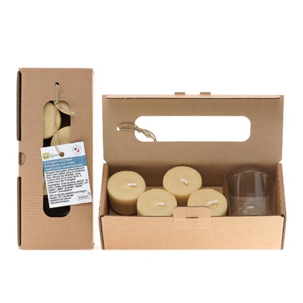 Quésack - Boîte de 4 bougies Composition Assainissante avec verre