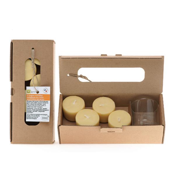 Quésack - Boîte de 4 bougies Composition Calmante avec un verre