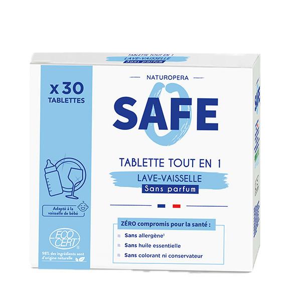 Safe - 30 tablettes lave-vaisselle tout-en-un Sans parfum