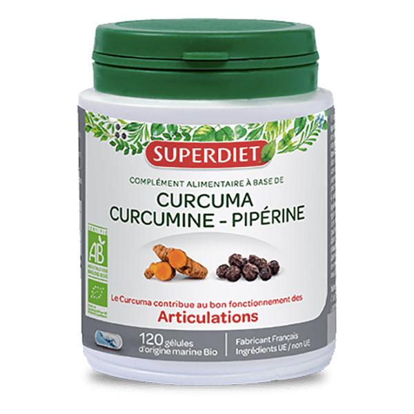 SUPERDIET - Curcuma curcumine et piperine 120 gélules