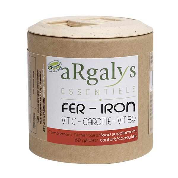 Argalys Essentiels - Fer, Vitamine C, B9 et carotte bio 60 gélules