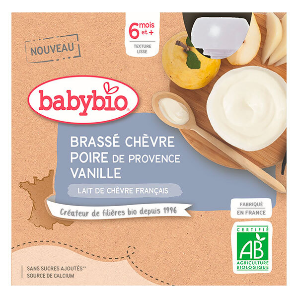 Babybio - Brassé de Chèvre Poire de Provence Vanille dès 6 mois 4x85g