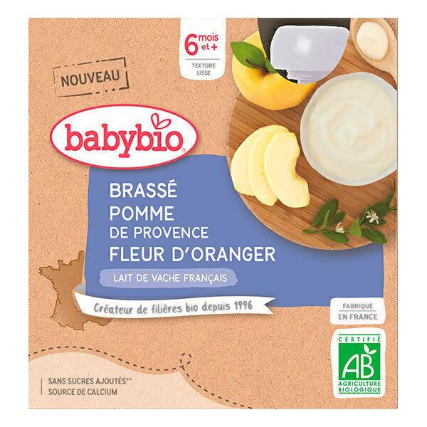 Babybio - Brassé de vache Pomme d'Aquitaine Fleur d'Oranger 6 mois 4x85g