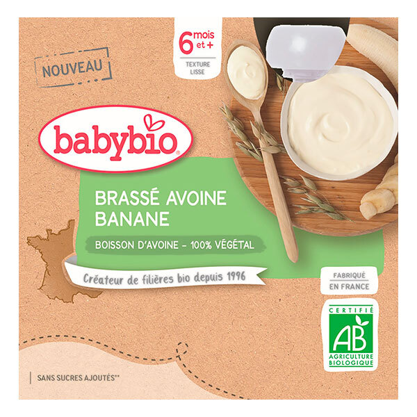 Babybio - Brassé Végétal Avoine Banane 6 mois 4x85g