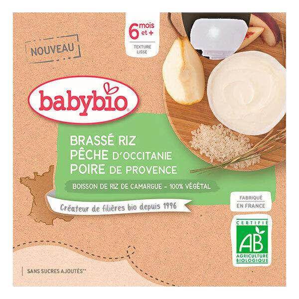 Babybio - Brassé Végétal Riz Pêche d'Occitanie Poire de Provence 6 mois