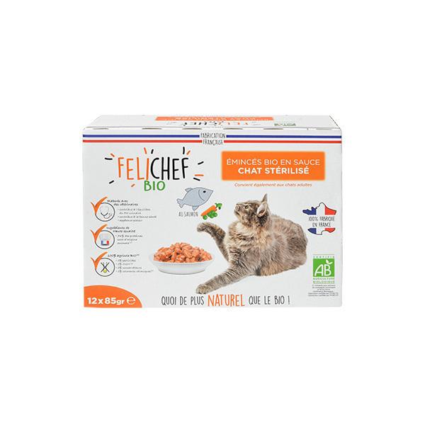 Felichef - Emincés en sauce pour chat Saumon 12x85g