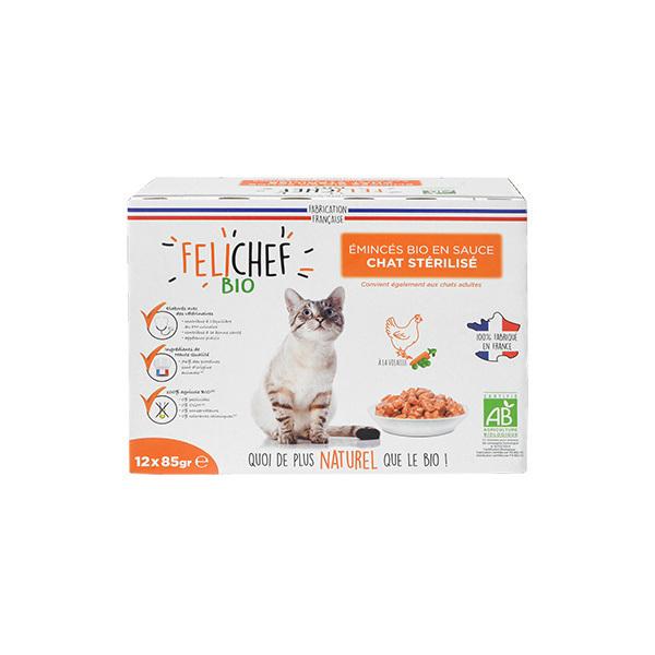 Felichef - Emincés en sauce pour chat Volaille 12x85g