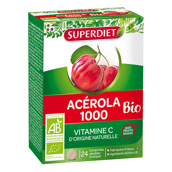 SUPERDIET - Acérola 1000 bio 24 comprimés à croquer