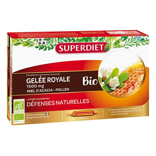 SUPERDIET - Ampoules de gelée royale miel et pollen 20x15ml