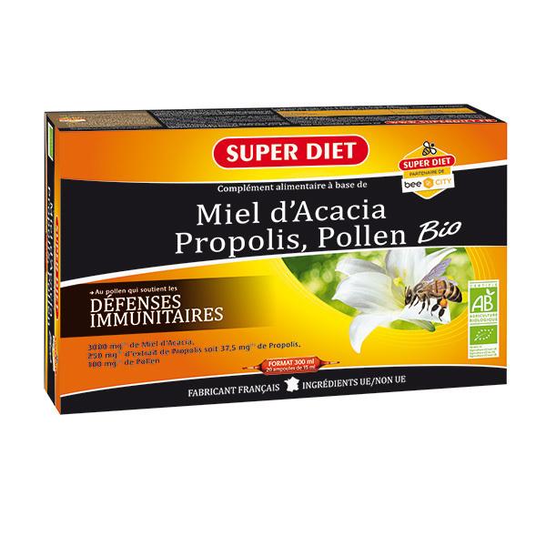 SUPERDIET - Ampoules miel propolis et pollen 20x15ml