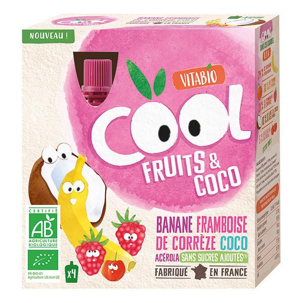 Vitabio - Cool Fruits Banane Framboise Lait de Coco Acérola 4 x 85g