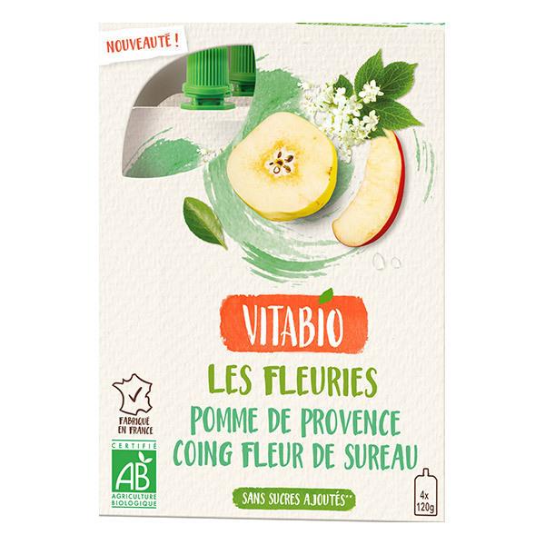 Vitabio - Gourdes Fruits et Fleur Pomme Coing Fleur de Sureau 4x120g