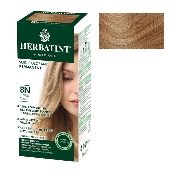 herbatint coloration naturelle 8n blond clair loading zoom - Shampoing Colorant Blond