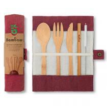 Bambaw - Set de couverts réutilisables en bambou Rouge