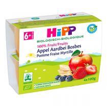 HiPP - Pomme fraise myrtille 4x100g - Dès 6 mois
