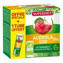 SUPERDIET - Acérola 500 bio 24 comprimés + 1 tube offert