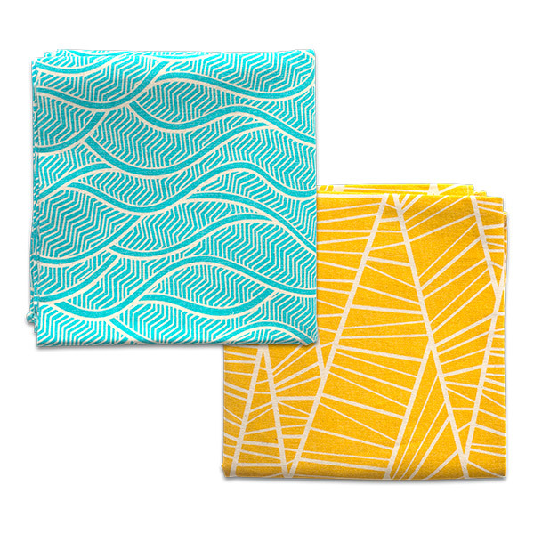 Gaspajoe - Set de 2 Furoshikis XL jaune et turquoise 65x65cm
