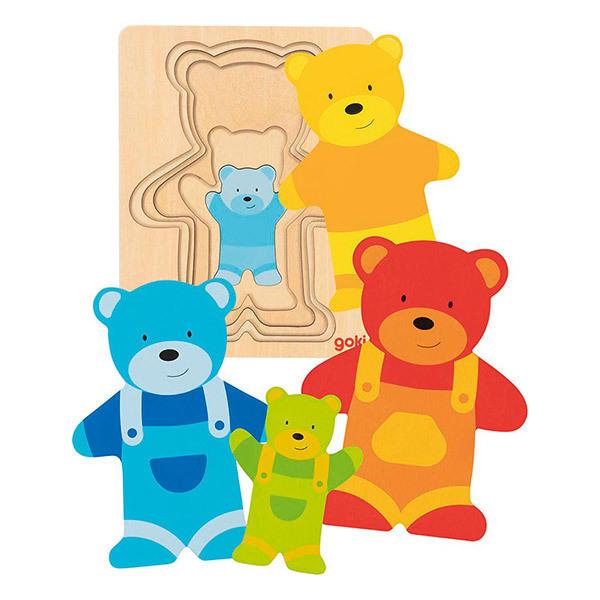 Goki - Puzzle a couches Ours - Des 2 ans