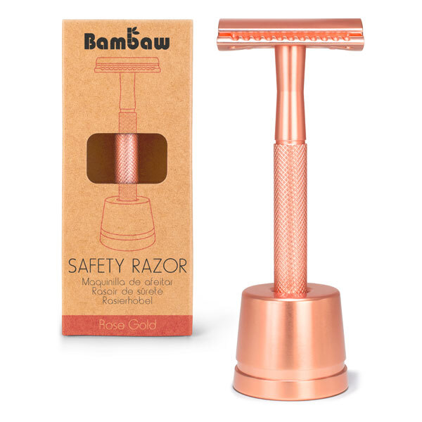 Bambaw - Rasoir de sûreté métal Or rose avec socle