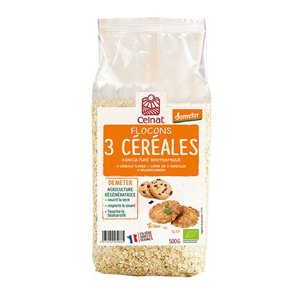 Celnat - Flocons 3 céréales Demeter 500g