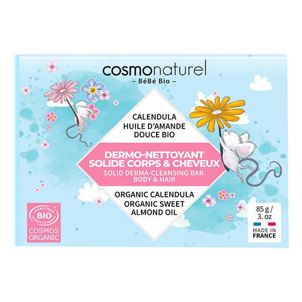 Cosmo Naturel - Savon dermo-nettoyant solide bébé corps et cheveux 85g