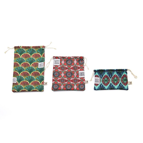Cosse Nature - Set de 3 sacs à vrac en coton Fleurs