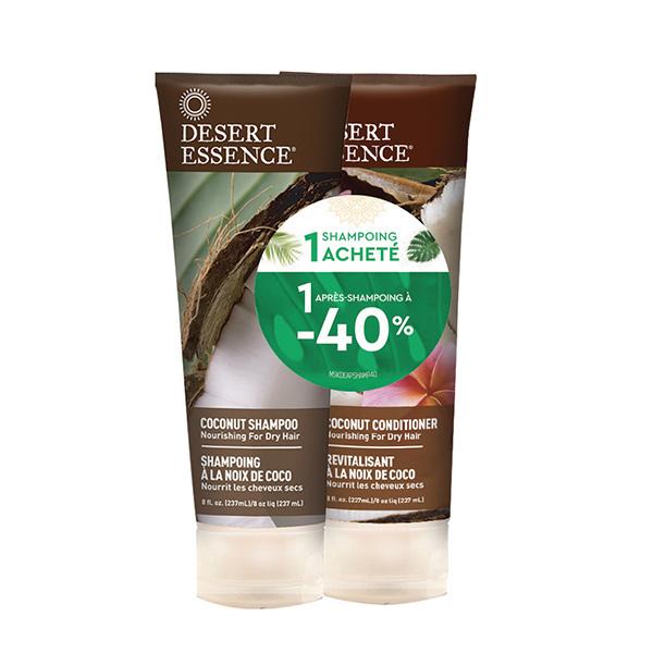 Desert Essence - Lot shampoing et après shampoing à la noix de coco 2x237ml
