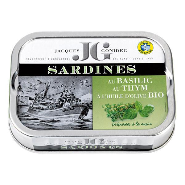 Jacques Gonidec - Sardines basilic, thym & huile d'olive 115g
