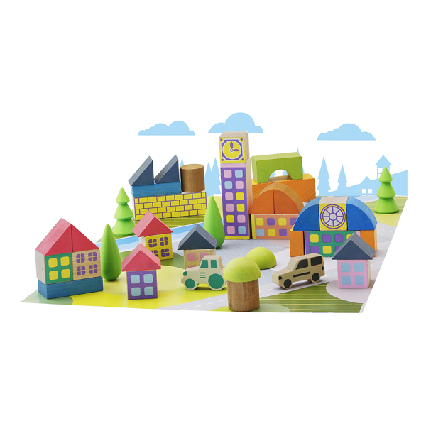 Jeujura - Minivillage 40 pieces - Dès 2 ans