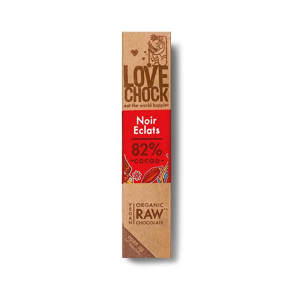 Lovechock - Barre chocolat noir cru 82% aux éclats de cacao 40g