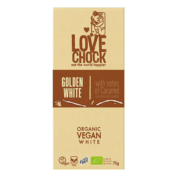 Lovechock - Tablette chocolat blanc aux notes de caramel 70g