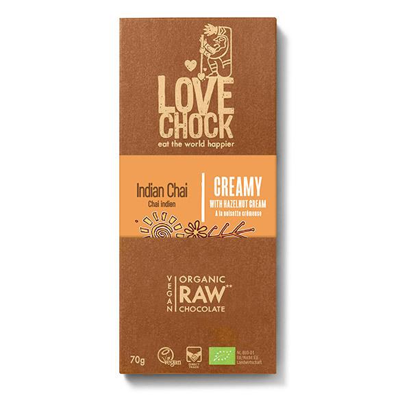 Lovechock - Tablette chocolat cru à la pâte de noisettes et aux épices 70