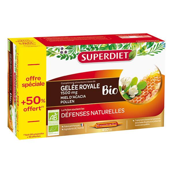 SUPERDIET - Ampoules de gelée royale miel et pollen 20x15ml + 50% offert