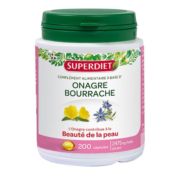 SUPERDIET - Huile onagre et bourrache 200 capsules