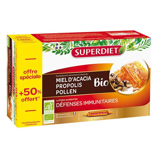 SUPERDIET - Ampoules miel propolis et pollen 20x15ml + 50% offert