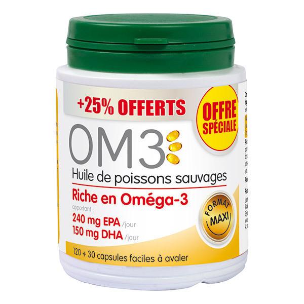 OM3 - Huile de poissons sauvages 120 capsules + 25% offert