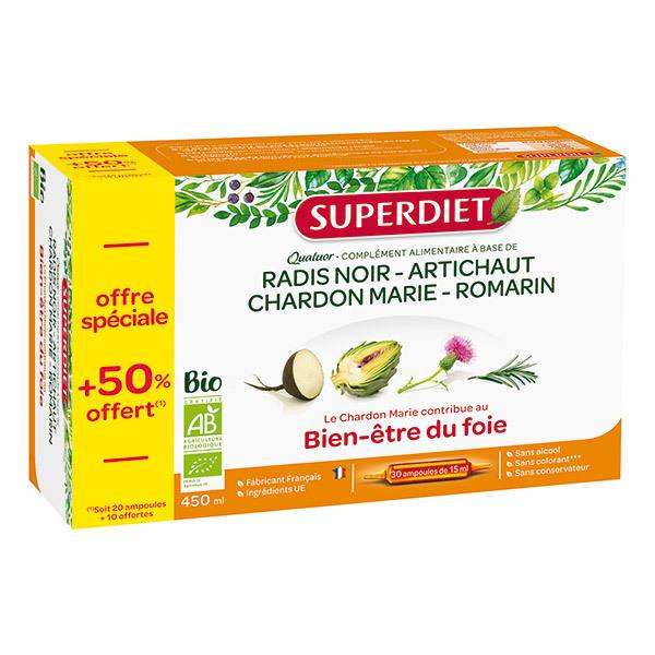 SUPERDIET - Quatuor bien être du foie 20x15ml + 50% offert