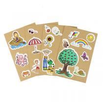 AGENT PAPER - 4 Cartes à Sticker Printemps Été - Dès 5 ans