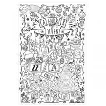 AGENT PAPER - Poster calendrier de l'avent à colorier 60 x 80 cm - Dès 5 ans