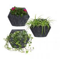 Citysens - 3 pots muraux avec housse textile et pothos